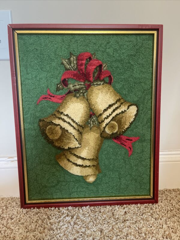 Vintage Punch Needle Completed Picture Christmas Bells Decor Embroidery Crewel