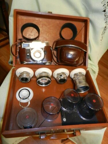 Vintage Kodak Retina Reflex III Schneider 35mm Camera, Case and Extra 4 Lenses