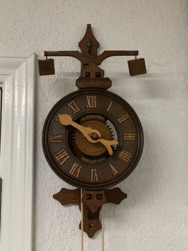 """Vintage Stone Weight Driven Clock """"Anno 1640"""" Medieval Made In Germany"""