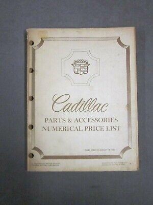 Cadillac Parts and Accessories Price List 1982