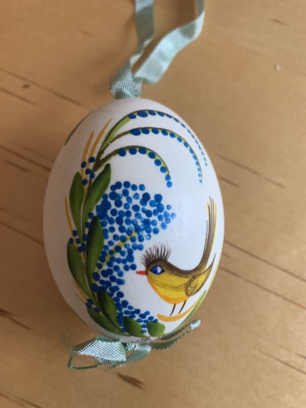 Vintage Easter Real Hollowed Egg Hand Painted with Beautiful Bird