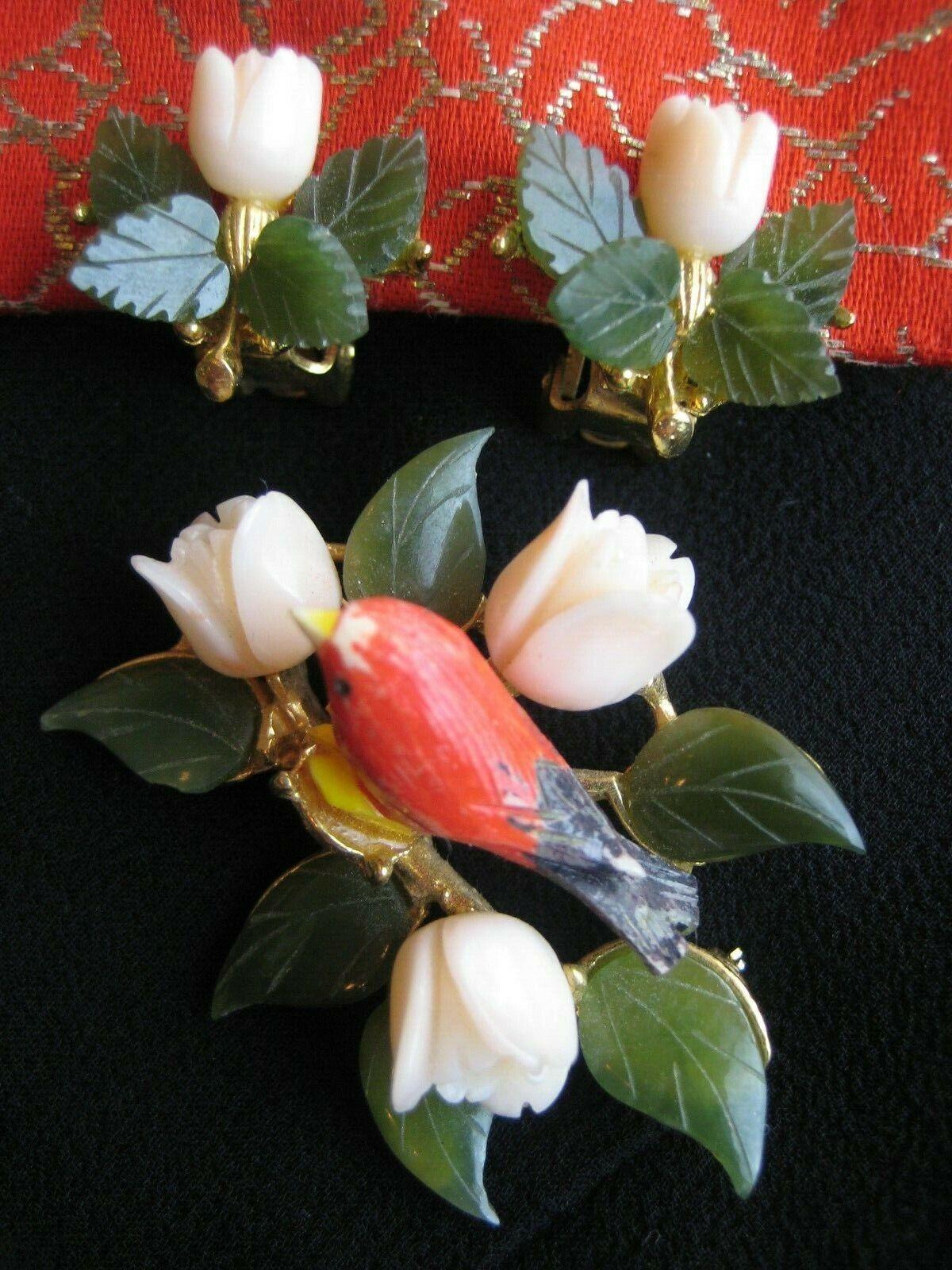 Vintage Signed SWOBODA Bird On Nest Brooch W Earrings JADE CORAL - $44.00