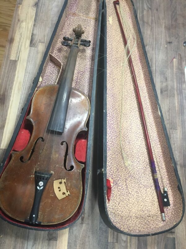 Old Antique Violin Hopf Full Size flower Perfling With Bow And Case