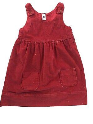 Gap Kids Girls Red Corduroy Sparkle Christmas Jumper Dress Medium 7/8