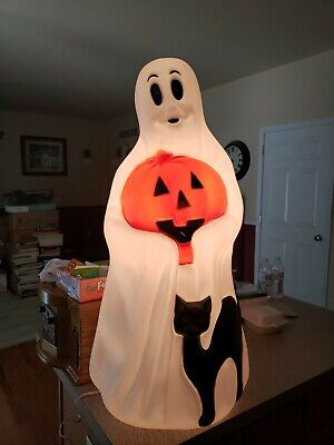 """VINTAGE EMPIRE HALLOWEEN BLOW MOLD GHOST WITH PUMPKIN BLACK CAT LIGHTED 34"""""""