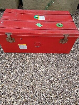 Collectable  Red Metal Trunk / Storage / Chest Case  -  Made in France