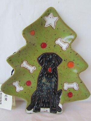 Julie Calhoun Roepnack Pottery Christmas Tree Black Labrador Dog Trinket Dish, used for sale  Santa Ana