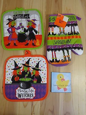 Mitte Halloween 2 (Halloween Kitchen Set of 3 WITCHES 2 Square POT HOLDERS 1 OVEN MITT )