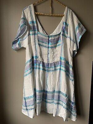 Free People Metallic Blue And White Striped Summer Dress Size Medium