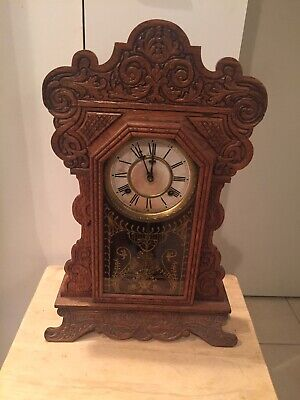 Antique Waterbury Clock Co. N.Y. Wooden Cathedral Mantel Clock See Desc. AS IS