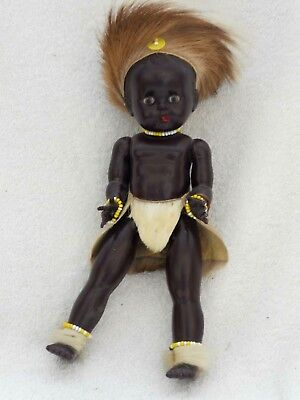 """VINTAGE 1950S HARD PLASTIC ETHNIC DOLL DRESSED APPROX 10"""" HIGH"""