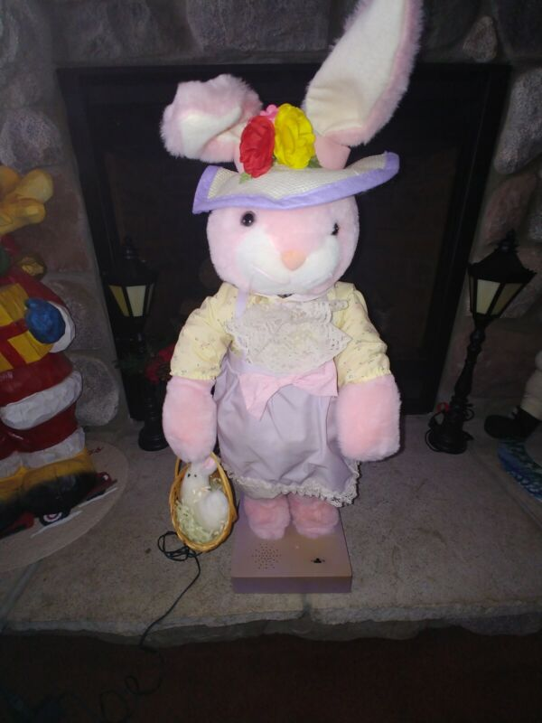 Animated Musical Easter Bunny Holding EASTER Basket