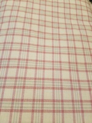 Yard Cream/yellow Pink Sage Green Cotton Plaid Country Upholstery Fabric - Plaid Upholstery Fabric
