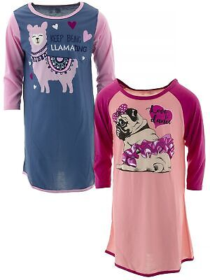 Chili Peppers Girls Blue Pink Pug Llama Set of 2 Nightgowns