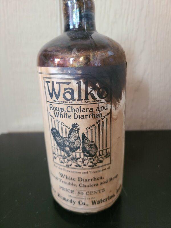 Vintage Walko Walker Remedy Co Waterloo IA Poultry Paper Label Medicine Bottle