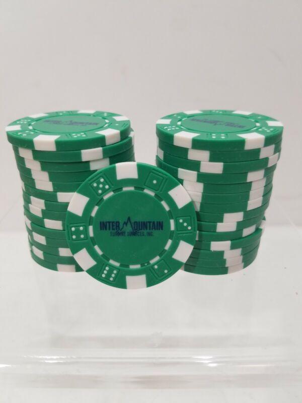 1000 Intermountain Turbine Services Clay Composite 11.5g Poker Chips Green White