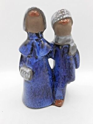 Vtg 1960's JIE Gantofta Sweden Art Pottery Winter Couple Elsi Bourelius Figurine