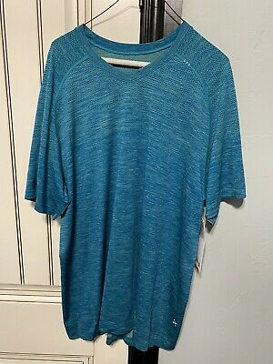 LULULEMON MENS SHORT SLEEVE TEAL BLUE YOGA RUNNING GYM BASKETBALL LOUNGE XXL NWT