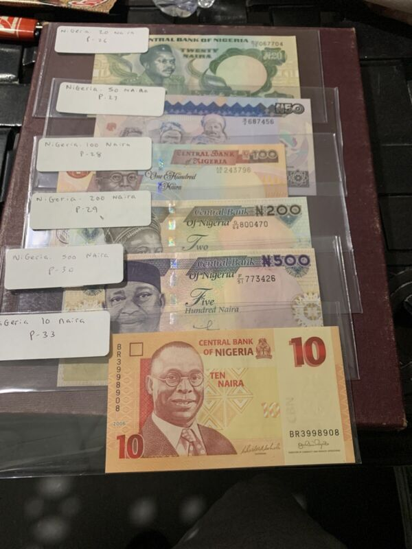 Nigeria 500 200 100 50 20 10 Naira p-33 30 29 28 27 26 2017 UNC Banknote