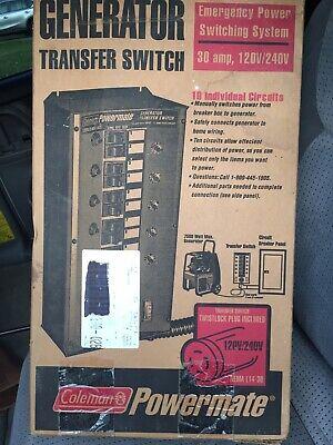 Coleman Powermate Generator Transfer Switch 30 Amp Gentran 7500w Max Pa0650080