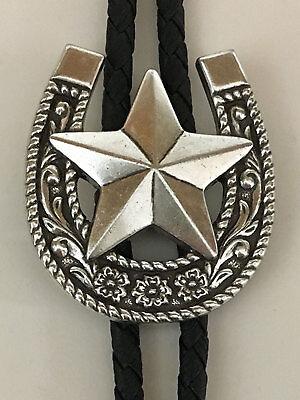 Western Bolo Tie Horse Shoe Texas Star Silver