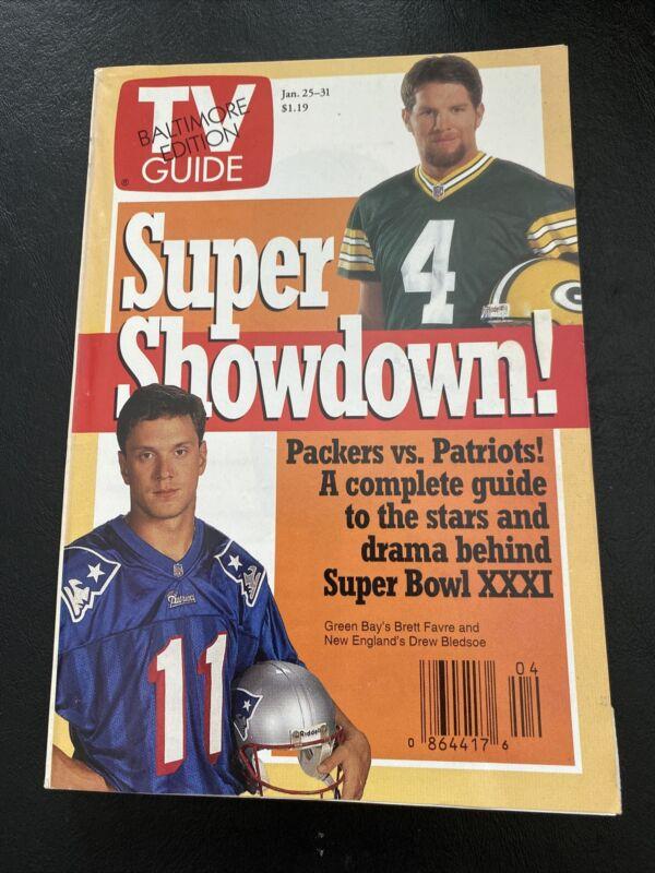 TV Guide January 25-31, 1997 Super Showdown! - Packers v Patriots Favre Bledsoe