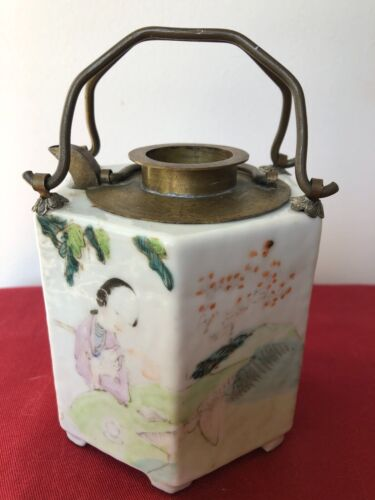 Vintage Chinese Porcelain Famille  Hand-painted Character Wine Pot