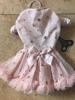 PAWPATU Fancy PINK GOLD STARS Party  DRESS Puppy/Dog small - Puppy Fancy Dress