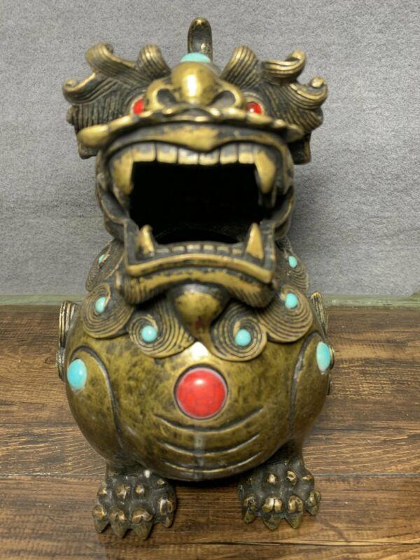"7.2"" Antique old China bronze Gemstone inlay Kylin Incense Burners"