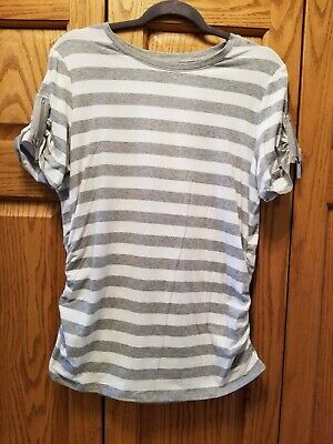 Ladies Michael Kors White/Gray Striped T-shirt  *New with tags*