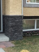 Stucco/paper and wire/culture stone