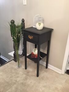 Refurbished hallway/accent table dark gray with drawer & shelf