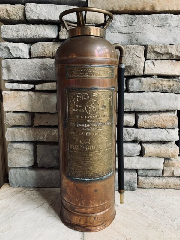"""Vintage Fire Extinguisher 2 1/2 Gallon Red Star Made in St. Louis 24"""" High"""