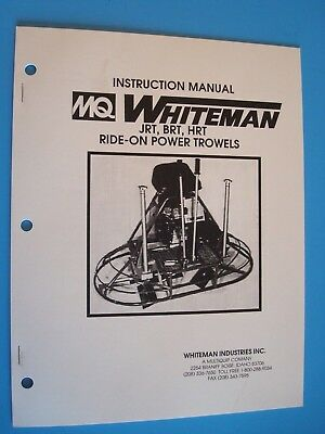 Mq Whiteman Ride-on Power Trowel Jrtbrthrt Instruction Manual