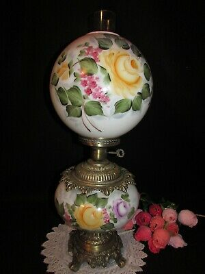 "ANTIQUE VICTORIAN HAND PAINTED GWTW BANQUET PARLOR LAMP BALL GLOBE 22"" 3 WAY"