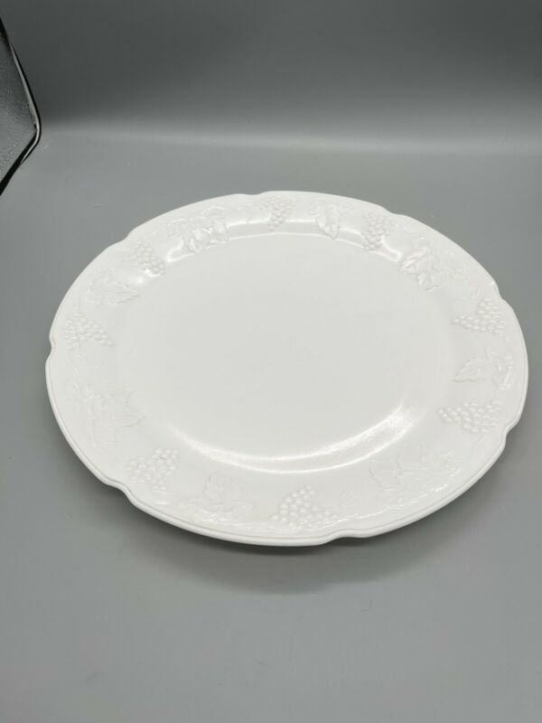 "VTG COLONY HARVEST MILK GLASS 14"" ROUND PLATTER GRAPEVINE EMBOSSED #86967"