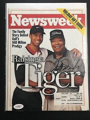 Earl Woods Signed Newsweek Magazine Tiger Woods Father December 9 1996 JSA