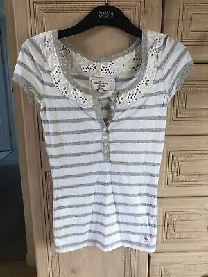 Abercrombie And Fitch Size M White And Grey Striped T-shirt