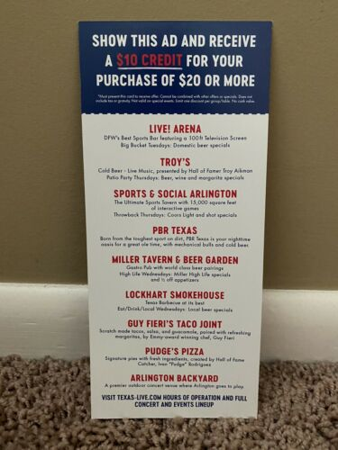 Texas Live Coupon - 10 Off Of 20 At Participating Restaurants - Arlington, TX - $2.55