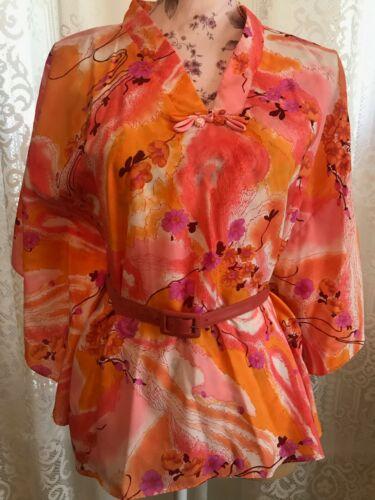 Vintage Waikiki Casuals Oarnge Floral Silky Hawaiian Shirt Blouse Top S/M