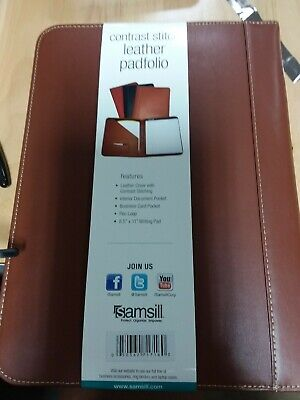 Samsill Contrast Stitch Leather Padfolio 8.5x11 Writing Pad Included Brown