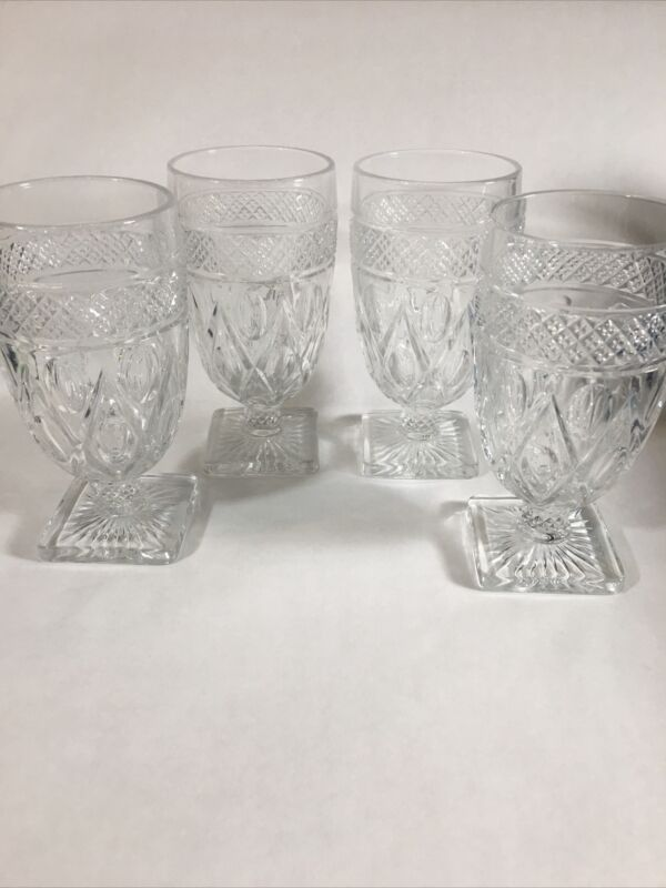 "Lot of 4 5 7/8"" Vintage Imperial Cape Cod Clear Pattern Glass Parfait Glasses"