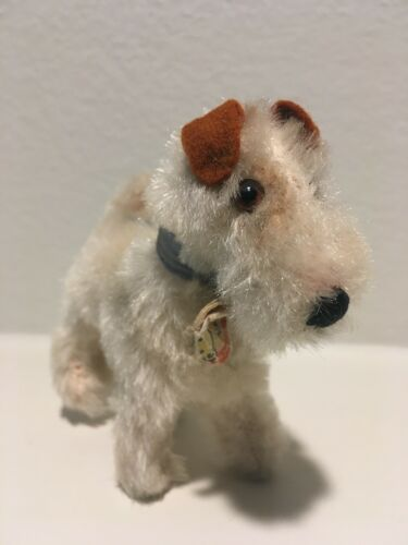 STEIFF FOX TERRIER BLUE RIBBON, BELL and ID TAG Early 1940