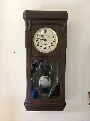 Antique KIENZLE Westminster Gong 8 Day Wall Clock Good Workings Made in Germany