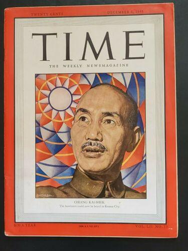 👍 DEC 1948 VINTAGE TIME MAGAZINE ON CHINA CHIANG KAI SHEK CIVIL WAR