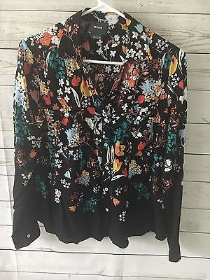 Anthropologie Maeve Long Sleeve Button Down Top Black Deer Owl Floral Top Sz 6