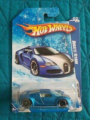 HOT WHEELS Bugatti Veyron Satin Blue, Snowflake Card - NEW, SEALED, FREE SHIP!