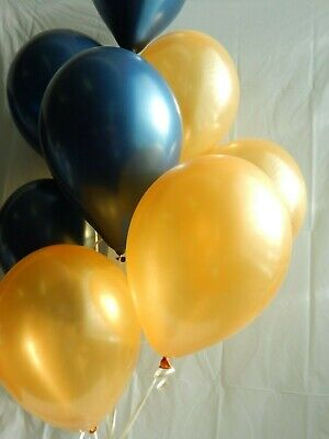 Blue and Gold Navy Latex Balloons,Shower, Wedding Decorations Birthday Party - Blue And Gold Wedding