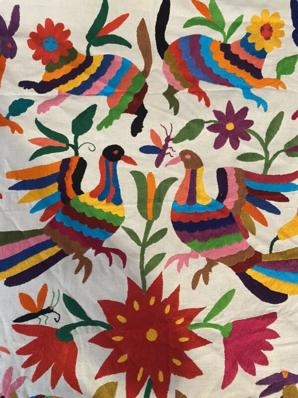 Vtg Otomi Embroidered Tapestry Mexico Mayan Animal Crewel Embroidery Peacocks