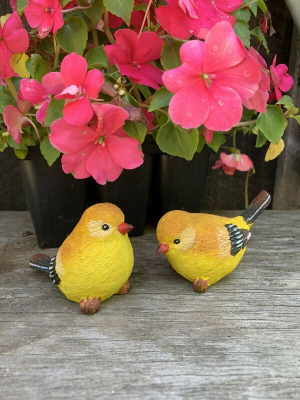 Pair Yellow Gold Finch Birds Statue Figurine Garden Decoration